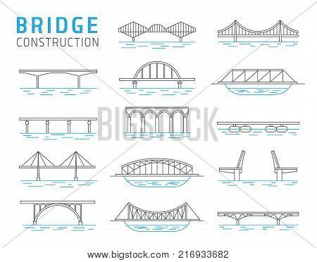 Bridge constructions vector set, architecture schemes template