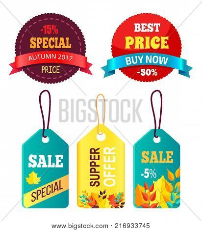Stickers set ready to use in shopping industry with text special price, best sale buy now, super offer with discounts and autumn foliage vector