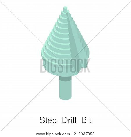 Step drill bit icon. Isometric illustration of step drill bit vector icon for web