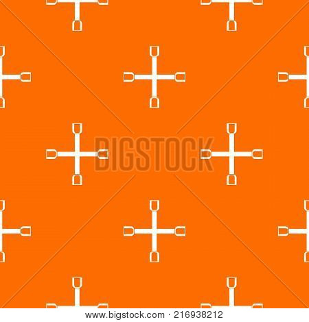 Wheel wrench cross pattern repeat seamless in orange color for any design. Vector geometric illustration