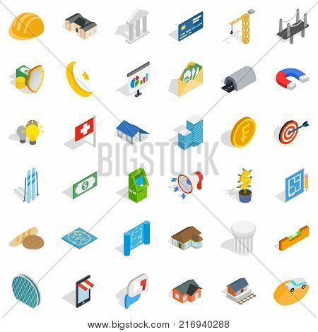 Project icons set. Isometric style of 36 project vector icons for web isolated on white background