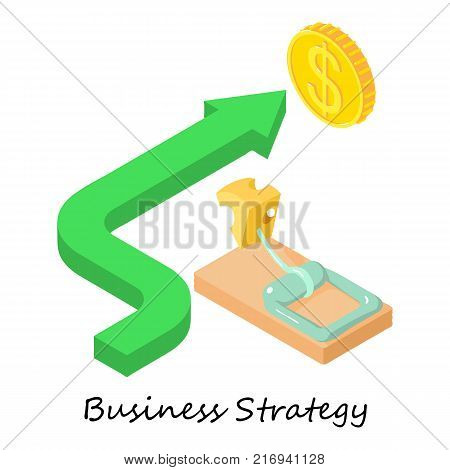 Business strategy icon. Isometric illustration of business strategy vector icon for web