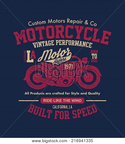 Hand drawn vintage motorcycle. Vector illustration. Vector background.