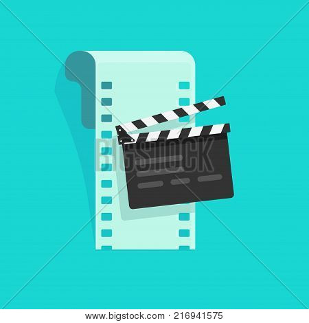 Movie or online cinema concept vector illustration, flat cartoon design of clapper board and film strip, idea of video editing icon, film production symbol, cinematography equipment