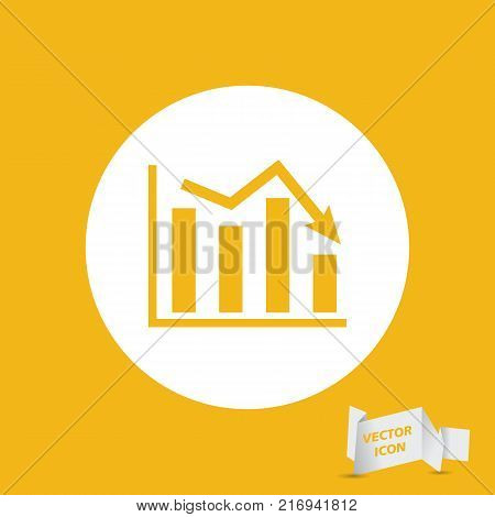 white flat icon of graph going down on yellow background