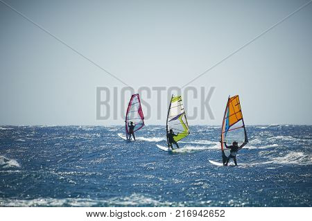 Three windsurfing sails on the blue sea at windy day