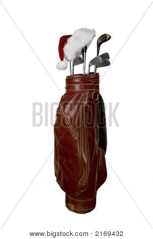 Golf Clubs With Santa Hat