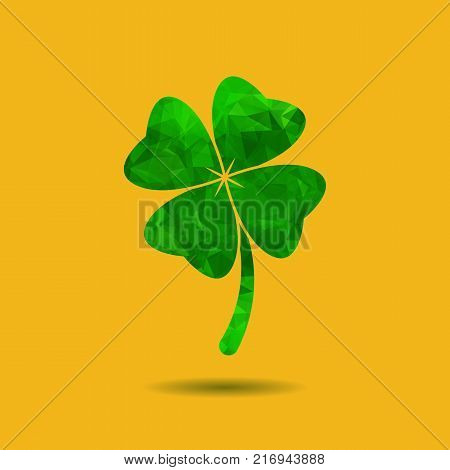 Abstract geometric green Clover with four leaves sign icon. Saint Patrick symbol