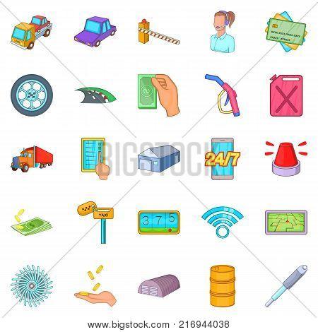 Vehicle maintenance icons set. Cartoon set of 25 vehicle maintenance vector icons for web isolated on white background