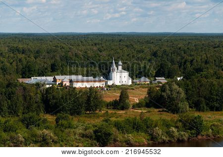 Panarama view of the old Znamensky woman monastery in summer, Gorokhovets, Russia