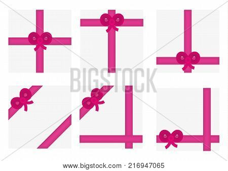 Wrapped present with elegant pink ribbon and bow on white background.