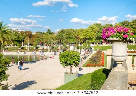 The Luxembourg Garden in Paris on a beautiful summer day