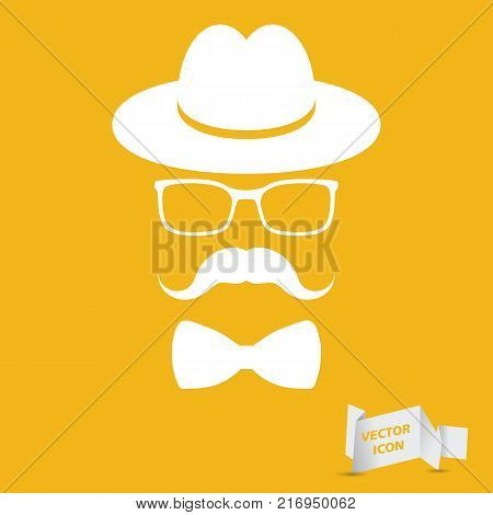 white hat with mustache, bow tie and glasses isolated on the yellow background