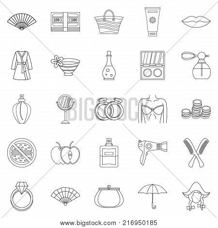 Interest of woman icons set. Outline set of 25 interest of woman vector icons for web isolated on white background