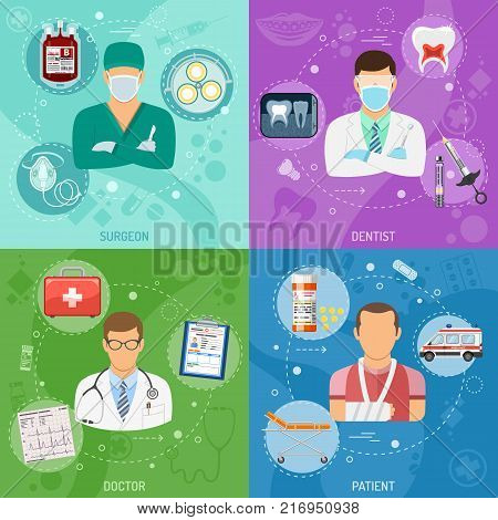 Medical square banners Surgeon, Dentist, Doctor and Patient with flat icons syringe, cardiogram, blood container, tooth and ambulance. vector illustration