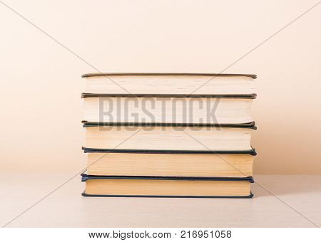 Stack of books. Education background. Copy space for text.