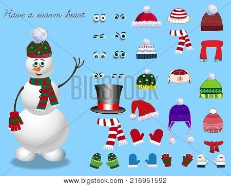Set for creation cute cartoon snowman character. Christmas and new year set for creating snowman. Eyes emotions hats scarves mittens. Cute winter clothes for snowman. Vector illustration template poster