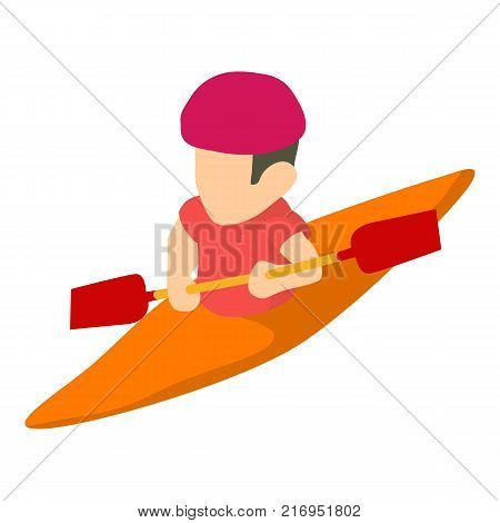 Canoe player icon. Isometric illustration of canoe player vector icon for web