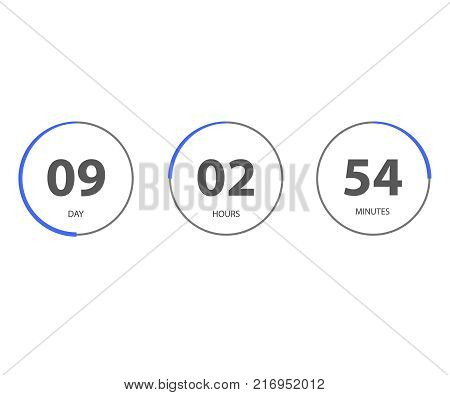 Countdown web site. Digital clock timer background. Timer before the end of the promotion