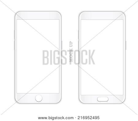 Smartphone mock up vector. Realistic modern phone with white screen