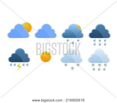 Weather Application vector. Weather widget illustration set icon