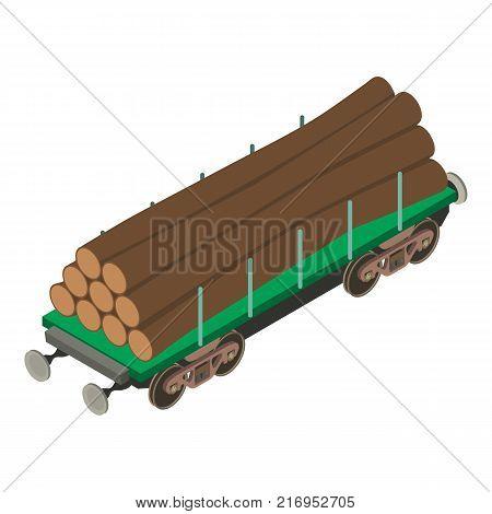 Wagon wood icon. Isometric illustration of wagon wood vector icon for web