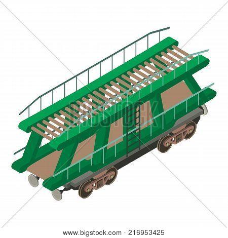 Wagon car icon. Isometric illustration of wagon car vector icon for web