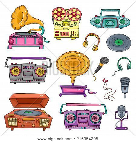 Retro musical equipment. Collection of stylish vector color images of old tape recorders and microphones isolated on white. Sketch style.