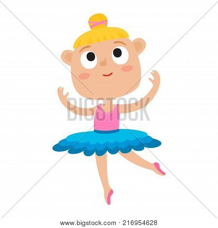 Vector cartoon illustration of little girl dancer. Cute ballet dancer girl dancing in green tutu and pointe shoes isolated on white background. Happy blondy girl.