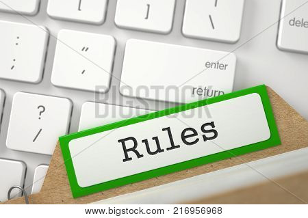 Rules. Green Card File Concept on Background of Modern Metallic Keyboard. Archive Concept. Closeup View. Selective Focus. 3D Rendering.