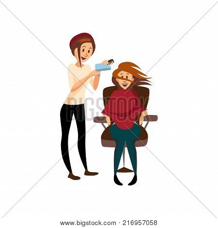 Hairdresser woman drying hair for her client with hairbrush and hair dryer, professional hair stylist at workplace cartoon vector Illustration on a white background