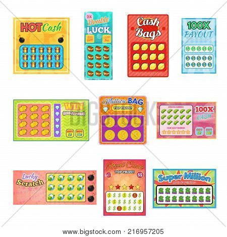 Lottery ticket vector lucky bingo card win chance lotto game jackpot lottery tickets set illustration isolated on white background.
