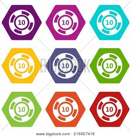Casino chip icon set many color hexahedron isolated on white vector illustration