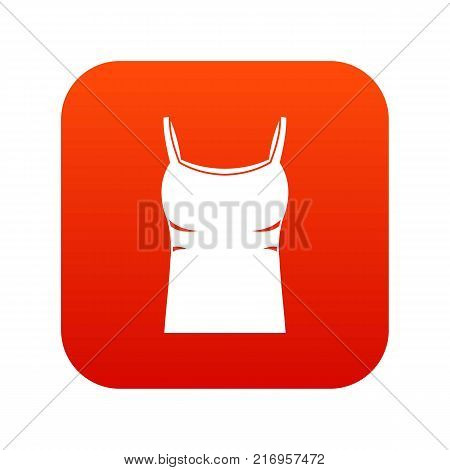 Blank women tank top icon digital red for any design isolated on white vector illustration