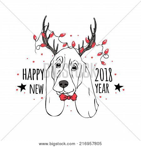 Vector drawn funny poster. Trendy cute basset hound in a deer suit with horns garland with light bulbs and bow tie. Dog is symbol of Chinese New Year. Hand drawn holiday image.