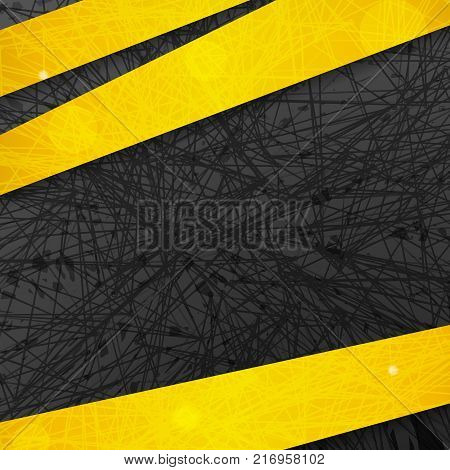 Abstract dark background with yellow lines and stripes. Vector illustration.