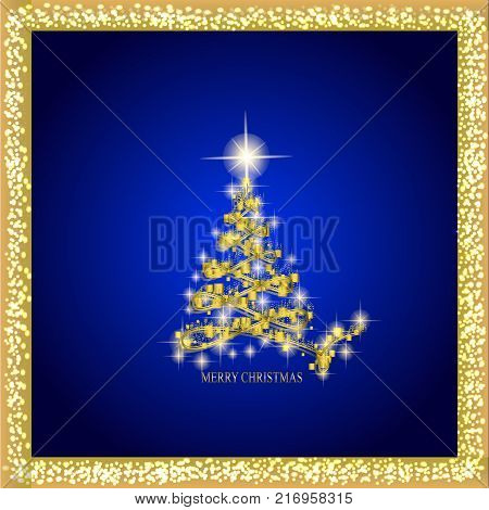 Abstract background with christmas tree and stars. Illustration in blue and gold colors.