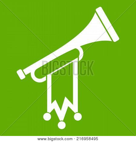 Trumpet with flag icon white isolated on green background. Vector illustration