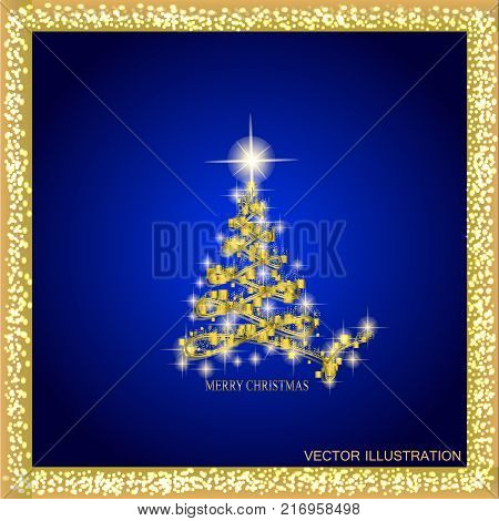 Abstract background with christmas tree and stars. Illustration in blue and gold colors.Vector illustration.