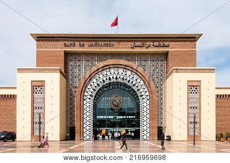 Marrakesh Morocco - May 13 2017: People are entering and leaving the Gare de Marrakech Train Station Marrakesh Morocco. The train station was opened on August 10 2008.