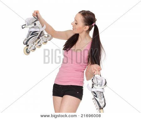 Young  Sporty Woman With Rollerskates.