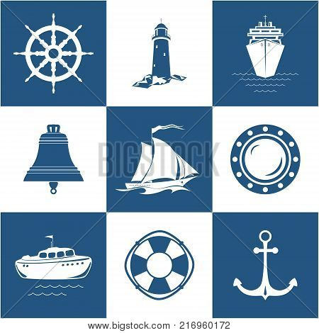Set of Marine Icons Sailing Vessel Anchor Ship Wheel with Lifebuoy Lifeboat and Porthole Ship's Bell Lighthouse with Cruise Liner Nautical Symbol  Vector Illustration
