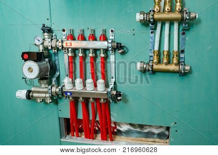 manifold heating system of a private home from close range