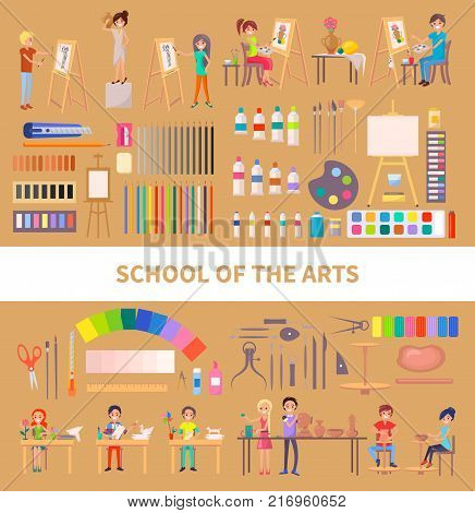 School of arts isolated vector illustration with diligent students during class along with their artworks, useful tools and instruments on light brown