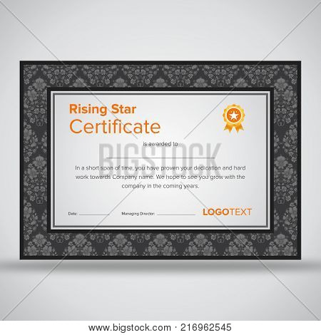 Framed professional grey rising star certificate with elegant borders and print ready design