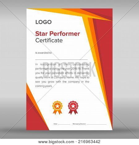 Star performer print ready certificate with abstract geometric gold and red design