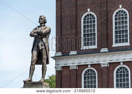 Samuel Adams monument statue near Faneuil Hall in Boston, Massachusetts USA