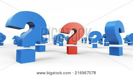 Red Question Sign among Blue Question Signs on White Background. Business Problem Solving Concept Image. 3D Illustration.