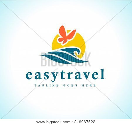 Vector flat touristic company logo design isolated on white background. Travel agency emblem sign. Blue water wave symol icon. Sea tours logotype. Ocean cruise.