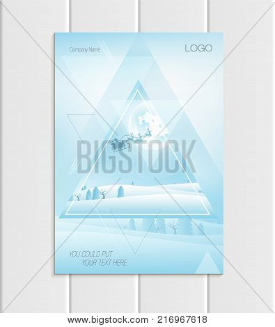 Stock vector brochure A4 or A5 format design Christmas triangles silhouette Santa Claus in sleigh reindeer winter landscape New Year 2018 full moon night background for printed element corporate style.
